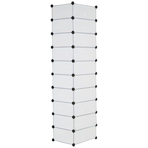 Levivo Schuhregal mit 10 Fächern und Klapptüren aus mattem Kunststoff, ca. 178 x 49 x 37 cm