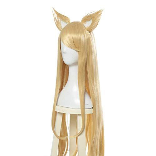 Lange gerade Perücke, Cosplay League of Legends (Ahri KDA), synthetische Haarperücken mit Pony, neue Mode Cosplay Kostüm Karneval Party, Hitzebeständige Faser 30 Zoll / 76 cm (Ahri League Of Legends Cosplay Kostüm)