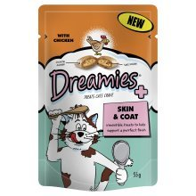 MARS Dreamies Pouch Treats Katzen Crave Haut & Fell mit Huhn 55g