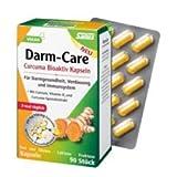 Curcuma Bioaktiv Darm-Care Kur-Set 2x90 Kapseln. Für Darmgesundheit, Verdauung und Immunsystem. Mit Calcium, Vitamin D3 und Curcuma-Extrakt. Frei von Gluten, Lactose und Fructose. Vegan.Frei von Gluten,Laktose,Fruktose.nur 3 mal täglich 1 Kaps.