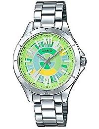 Casio ltp-e129d-3a mujeres del acero inoxidable Rainbow Verde Dial 3-Hand analógico reloj