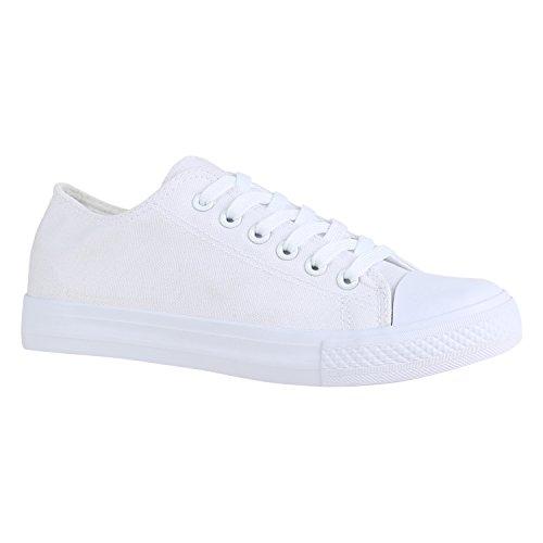 Stiefelparadies Damen Sneakers Sportschuhe Schnürer Schuhe 156890 All Weiss Weiss 36 Flandell