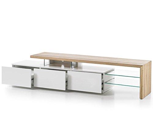 Robas Lund Lowboard Weiß Matt lackiert, TV Möbel Massivholz Asteiche