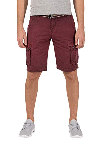 Timezone Herren Loose MaguireTZ Cargo incl. Belt Shorts, Rot (Washed Wine Red 5058), W32 (Herstellergröße: 32) -