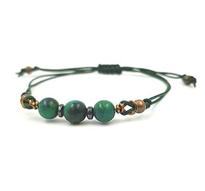 Bracelet cordon ajustable - Perles de Chrysocolle