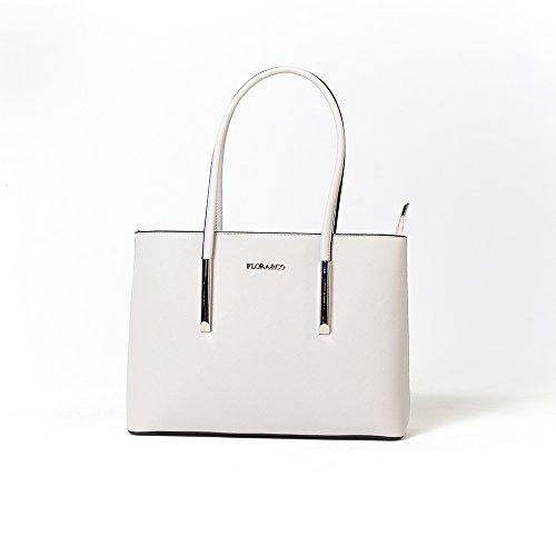 FLORA & CO | Damenhandtasche Mia | RON & ÈVE | Elegant Shopper-Tasche Schultertasche Handtasche Umhängetasche (Hellgrau) (Damen Handtasche Flora)