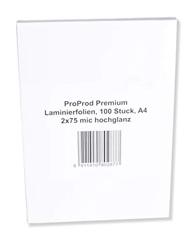 PROPROD Premium Pack de 100 Pochettes de plastification A4 75 microns finition brillante Transparent