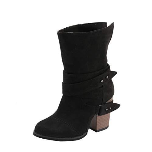 VJGOAL Damen Stiefel, 9CM Damen Mode Runde Zehe über Das Knie Flache Keile High Heel Stiefel Freizeit Herbst Winter Schuhe (Schwarz, 43 EU)