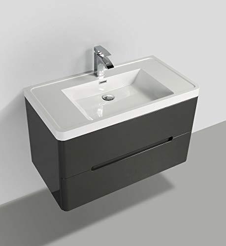Yellow shop - mobile bagno sospeso cm 90 in legno completo di lavabo in marmoresina con e senza specchiera a led mod. coco graphite lucido (mobile + lavabo)
