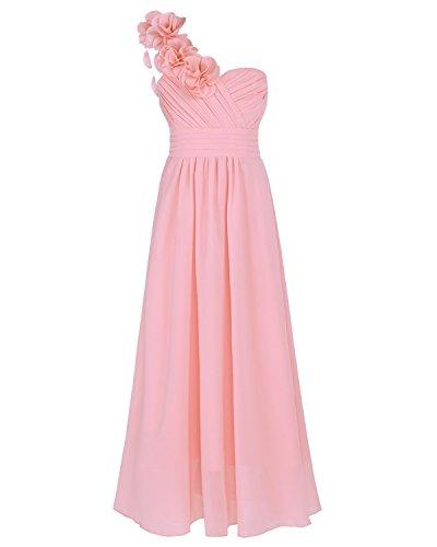 iEFiEL Blumenmädchenkleid Festlich Hochzeit Mädchen Brautjungfern Kleider Prinzessin Festkleid Festzug 104-164 Rosa 140 (Kleider Für Kinder)