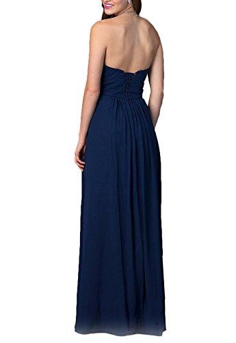 Erosebridal Brautjungfernkleid Chiffon bodenlangen Abendkleid Blau