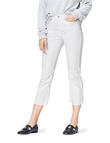 FIND Jeans Damen mit Kick Flare-Design, mittelhohem Bund und 5-Pocket-Design, Weiß, W28/L32 (Herstellergröße: Small) (Flared-hose Low Rise)