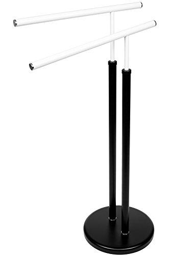 BAMODI Handtuchhalter freistehend - Handtuchständer Bad 80x42x26 cm - stabiler Handtuch Ständer mit extra schwerem Fuß - cooles Schwarz-Weiß-Design