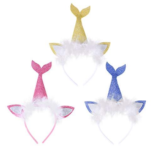 Amosfun Glitter Mermaid Stirnband LED Fischschwanz Haarband Kids Performance Requisiten (Katze Im Flash Kostüm)