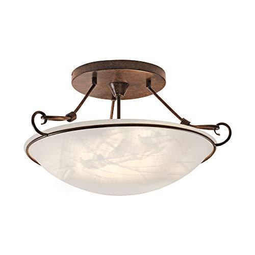 Deckenleuchte Alabaster-Dekor Glas, Landhaus Romantik antik rustikal Edel-Rost, E14 LED-fähig Wohnzimmer Deckenlampe