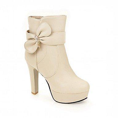 Rtry Femmes Chaussures Pu Similicuir Automne Hiver Confort Nouveauté Mode Bottes Bottes Chunky Talon Bout Rond Bottines / Cheville Bottes Bowknot Pour Partie Us3.5 / Eu33 / Uk1.5 / Cn32