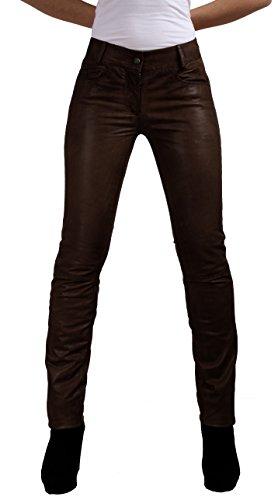 RICANO Dorin Damen Lederhose aus Lamm Nappa Echtleder in Verschiedenen Farben (Schwarz, Braun, Cognac Braun) (Braun, XL)