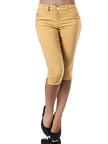 Diva-Jeans N956 Damen Caprihose Treggings Leggings Stoffhose Sommerhose Knielang 3/4 Capri, Farben:Camel, Größen:S