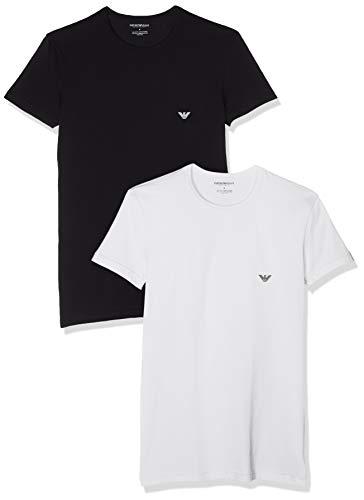 Emporio Armani Underwear Herren Men's Knit 2-Pack T T-Shirt, Weiß (Bianco/Nero 01610), Large (Herstellergröße: L)
