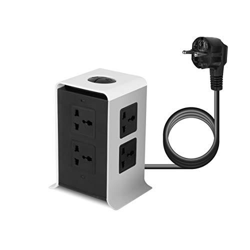 ForceSthrength ABS 8Outlet 4 USB Power Surge Vertikales Netzkabel Tischsteckdose US/UK/EU Stecker (Laptop Power Cord Protector)