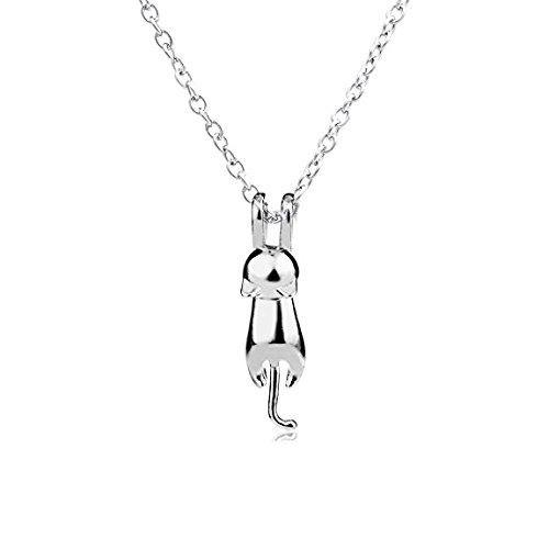 Iszie, gioielli in argento sterling, collana con gattino, ciondolo a forma di gatto per ragazza