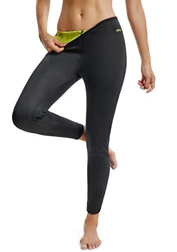 Fittoo pantaloni sauna dimagranti donna leggins sportivi fitness sauna pants hot shapers, nero, xl