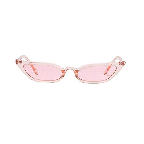 VENMO Frauen Vintage Cat Eye Sonnenbrille Retro kleine Rahmen UV400 Brillen Mode Damen Mode Polarisierte Katzenaugen Sonnenbrille For Damen UV400 reflektierenden Spiegel (Pink)