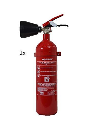 Feuerlöscher 2X 2kg CO² Kohlendioxid für EDV, DIN EN 3 + ANDRIS® Prüfnachweis mit Jahresmarke &. Extras