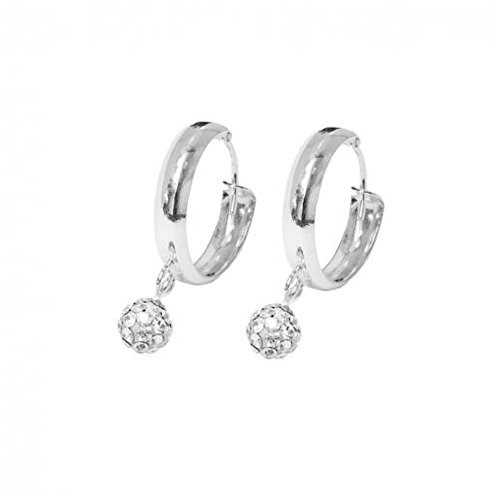 Boucles d oreilles Argent 925 Creoles 14mm Boules Strass 5mm Crystal