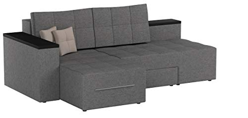 XXL Ecksofa mit Schlaffunktion 240 x 160 cm Grau - Eckcouch Relax Sofa Couch Schlafsofa Schlafcouch