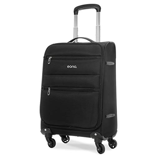 Eono Amazon Marke: EONO Essentials Ultra Leichter 55cm Reisetrolley Boardgepäck, Kabinengepäck Koffer mit 4 Rädern, zugelassen für Ryanair, easyJet, British Airways, Flybe, Wizz Air und viele mehr, schwarz