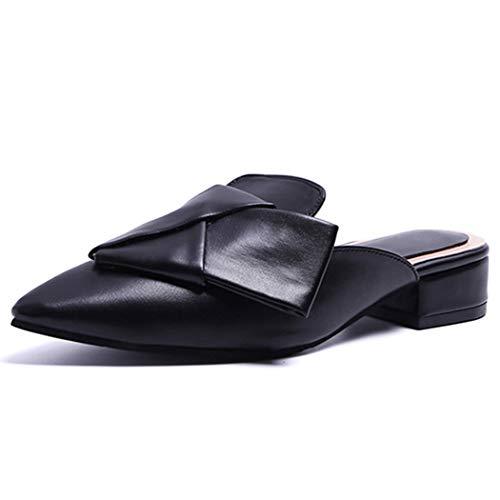 YOPAIYA Sandalen Damen Sommer Flach,Frauen Hausschuhe Schwarz Bogen Mode Sexy Spitz Pantoletten Schuhe Flache Sandalen Sommer Rutschen Damen Schuhe, 37