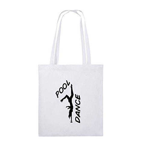 Comedy Bags - POOL DANCE - FIGUR - Jutebeutel - lange Henkel - 38x42cm - Farbe: Schwarz / Silber Weiss / Schwarz