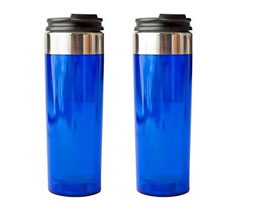Trinkbecher aus Acryl, doppelwandig, mit Schnappverschluss, ca. 400 ml, Blau, 2 Stück Double Wall Acryl