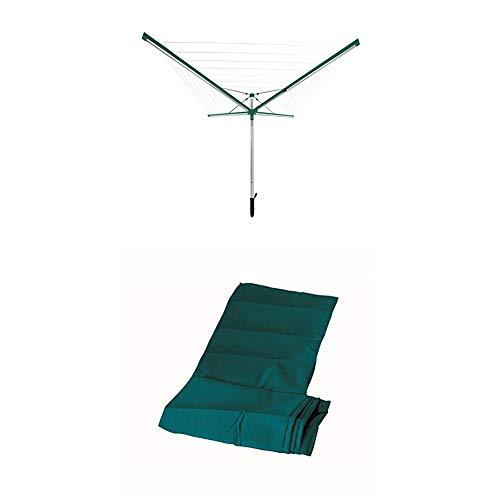 Leifheit Wäscheschirm Linomatic 600 Deluxe mit Leineneinzug für saubere Wäsche, Wäschespinne für die ganze Familie, Wäscheständer inkl. Bodenhülse + Schutzhülle Wäscheschirm