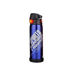31p4V4gp1ZL. SS300 Bottiglia Acqua Borraccia Doppia Parete Acciaio Inox Tazza da Viaggio BPA Free Thermos caffè Mug da Viaggio, Vintage Borraccia Termica per Bambini Bici Bambino,600/800ML,Blue,600ML