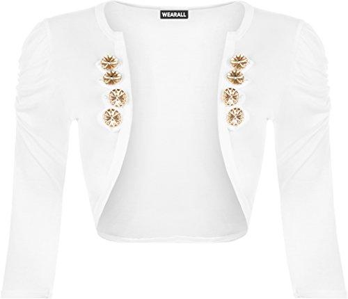 WearAll - Damen Knopfverschluss Elastisch Geraffte Kurzarm Strickjacke Cardigan Top - Weiß - 36-38 (Taste Zucken)