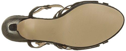Angkorly Damen Schuhe Sandalen Pumpe - Sexy - Schlangenhaut - String Tanga - Glänzende Trichterabsatz 9 cm Schwarz