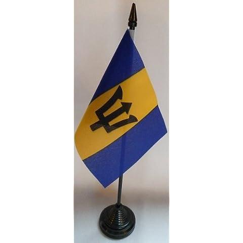 Paquete 12 Barbados 10.2cm x 15.2cm Mesa Banderas Con Palos & Bases