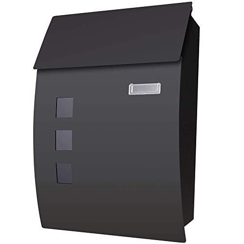 Voluker cassetta postale,cassetta della posta in acciaio,45 x 10 x 32cm,cassette postali con fissaggio a parete nero