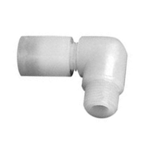 """Thomafluid Winkel-Rohrverbinder mit Außengewinde aus PFA, Rohr Außen-Ø: 4 mm, Außengewinde: G 1/4"""", D: 15 mm"""