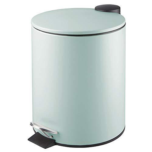 mDesign runder Tretmülleimer - 5 l Mülleimer aus Metall mit Pedal, Deckel und Kunststoffeinsatz - eleganter Kosmetikeimer oder Papierkorb für Bad, Küche und Büro - mint grün (Badezimmer Mülleimer Mit Deckel)