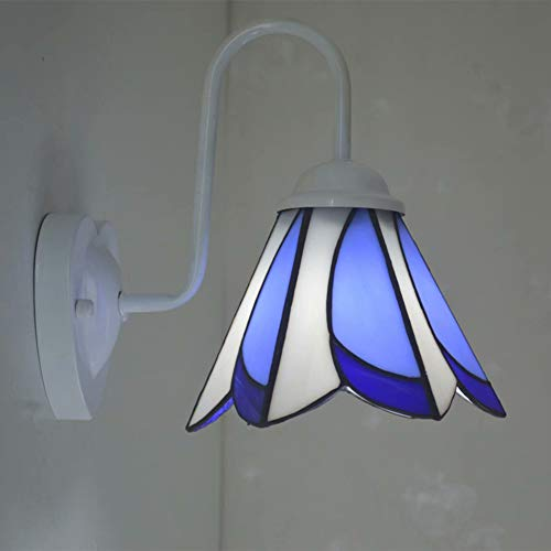 LYEJFF Tiffany-Art-Wand-Lampe, einfaches blaues Weiß-Design Glas Shade Wandleuchte für Wohnzimmer, Schlafzimmer, Flur dekorativer Wand Licht Nachttischlampe, E27 - Tiffany Wand Lampe