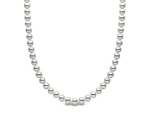 Kimura Pearls 9 ct Yellow Gold 6 mm White Semi Round Cultured Freshwater Pearl Necklace of 17-inch