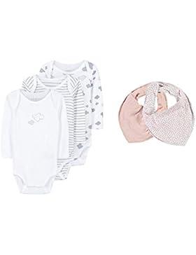NAME IT Baby-Mädchen Baby-Jungen Body, 3er Pack & 2 Halstücher
