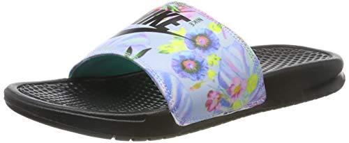 Nike wmns benassi jdi print, scarpe da spiaggia e piscina donna, grigio (pure platinum/black 023), 38 eu