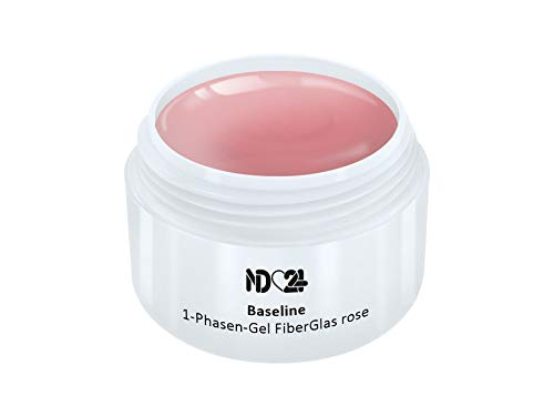 15ml - nd24 BESTSELLER - FiberGlas 1-PHASEN Allround GEL rosa mittelviskos - UV Fiber Glas Nagelgel - MADE IN GERMANY - säurearm selbstglättend