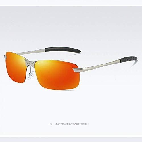HHCUIJ Herren UV400 polarisierte Sonnenbrille Sport Flash Mirrored Driving Sonnenbrille für Männer Randlose Gun Metal Pilot Brillen Brillen