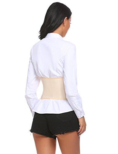 Damen Sexy Korsett Corsage Unterbrust Hüftgürtel Waist Taillenmieder Cincher mit Satin Elastische Slim Wide Taille Lace-Up Taillengürtel Shapewear Schwarz Nude Nude