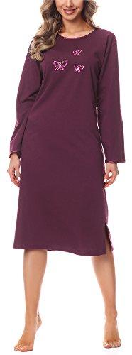 Merry Style Damen Nachthemd 91LW1(Aubergine(Langarm), 42 (Herstellergröße: XL))